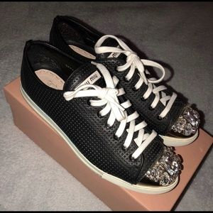 Miu Miu leather sneakers with crystal